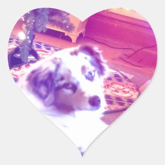 Australian Shepherd Christmas Heart Sticker