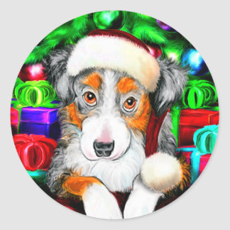 Australian Shepherd Christmas Open Gifts Classic Round Sticker
