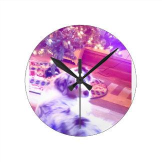 Australian Shepherd Christmas Round Clock