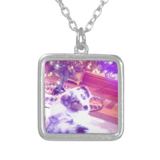 Australian Shepherd Christmas Silver Plated Necklace