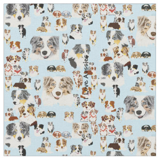 "Australian Shepherd Collage Cus. Cotton 56"" Fabric"