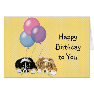 Australian Shepherd Custom Happy Birthday Card