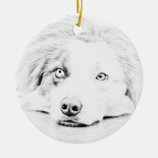 Australian Shepherd dog art Ceramic Ornament