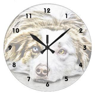 Australian Shepherd dog art Large Clock