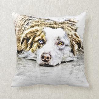Australian Shepherd dog art Throw Pillow