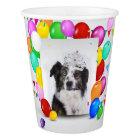 Australian Shepherd Dog Balloons Crown Birthday Paper Cup