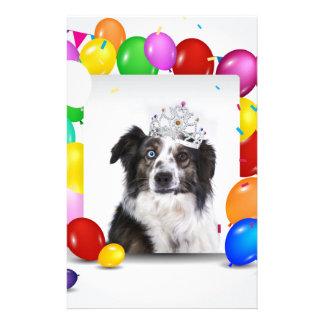 Australian Shepherd Dog Balloons Crown Birthday Stationery Paper