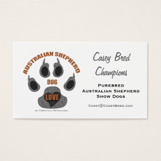 Australian Shepherd Dog Breeder Business Card