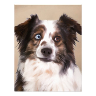 Australian Shepherd Dog Oil Painting Art Personalized Letterhead