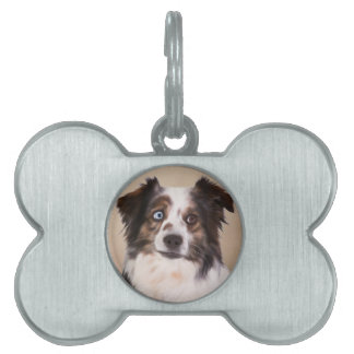 Australian Shepherd Dog Oil Painting Art Pet ID Tag