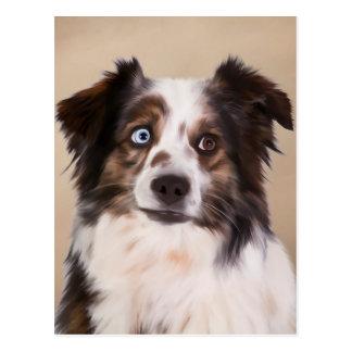Australian Shepherd Dog Oil Painting Art Postcard