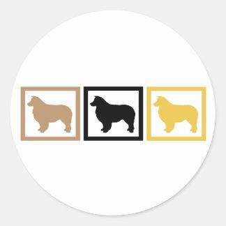 Australian Shepherd Dog Squares Classic Round Sticker