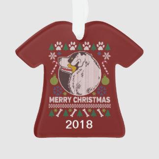 Australian Shepherd Dog Ugly Christmas Sweater Ornament