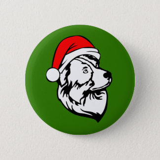 Australian Shepherd Dog with Christmas Santa Hat 2 Inch Round Button