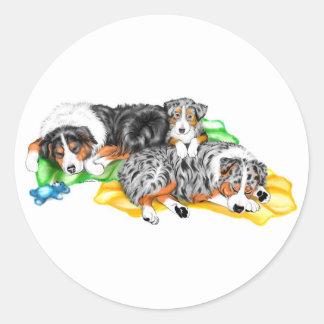 Australian Shepherd Family Nap Round Sticker