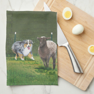 Australian Shepherd ~ Fetch Vert Oil Painting Kitchen Towel