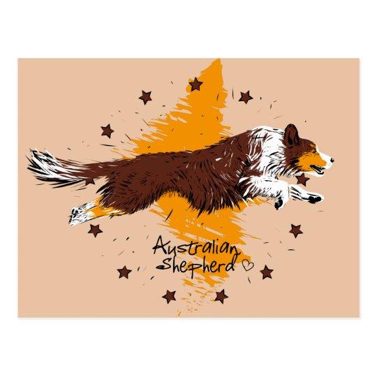 Australian Shepherd, flying Postcard