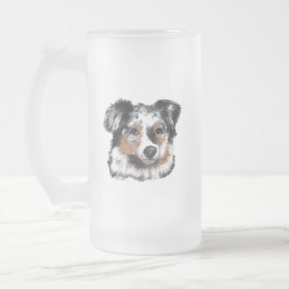 Australian Shepherd Frosted Glass Beer Mug