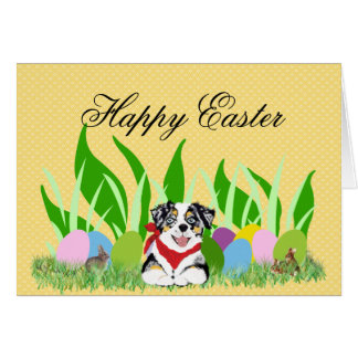 Australian Shepherd Happy Easter Card