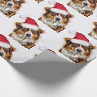 Australian Shepherd in a Santa Hat Christmas Wrapping Paper