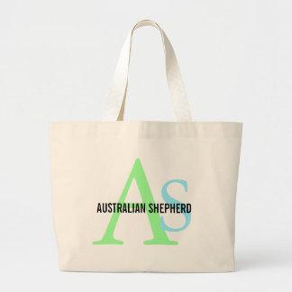 Australian Shepherd Monogram Large Tote Bag