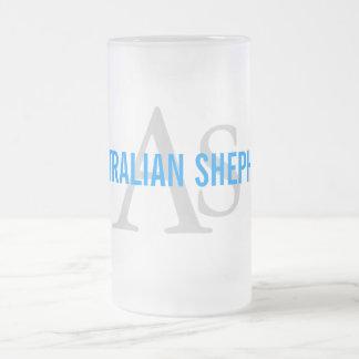 Australian Shepherd Monogram Frosted Glass Mug