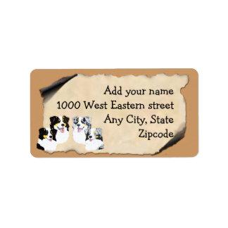 Australian Shepherd on Old Parchment Label