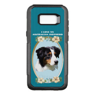 Australian Shepherd on Teal Floral - Edge OtterBox Commuter Samsung Galaxy S8+ Case