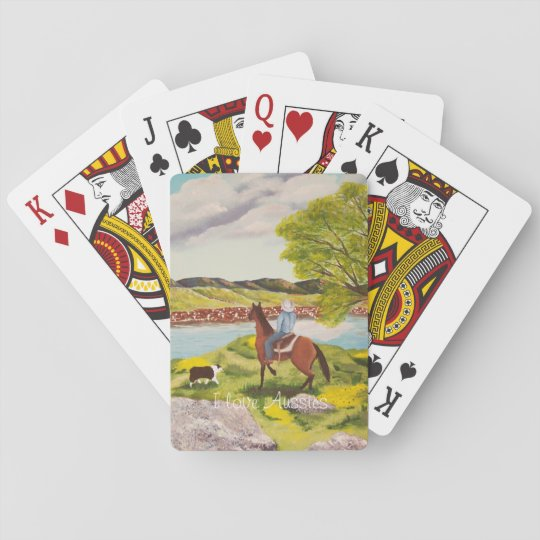 "Australian Shepherd ""Out of the West"" Painting Playing Cards"