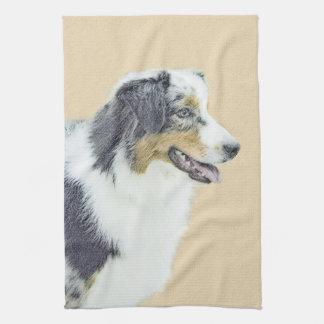 Australian Shepherd Painting - Cute Original Art Kitchen Towel