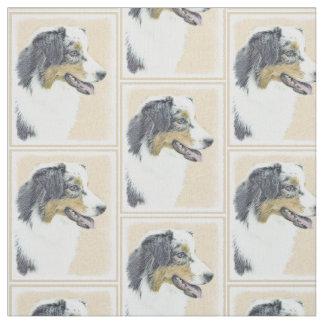 Australian Shepherd Painting - Original Dog Art Fabric