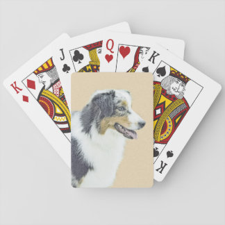 Australian Shepherd Painting - Original Dog Art Playing Cards