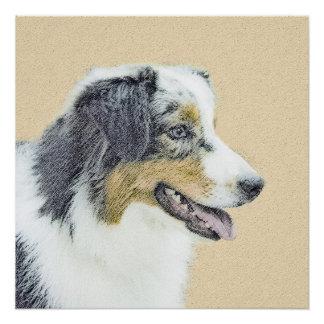 Australian Shepherd Painting - Original Dog Art Poster