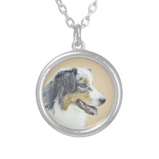 Australian Shepherd Painting - Original Dog Art Silver Plated Necklace
