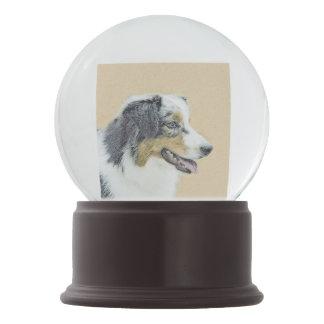 Australian Shepherd Painting - Original Dog Art Snow Globe