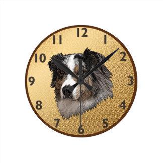 Australian Shepherd Portrait Round Clock