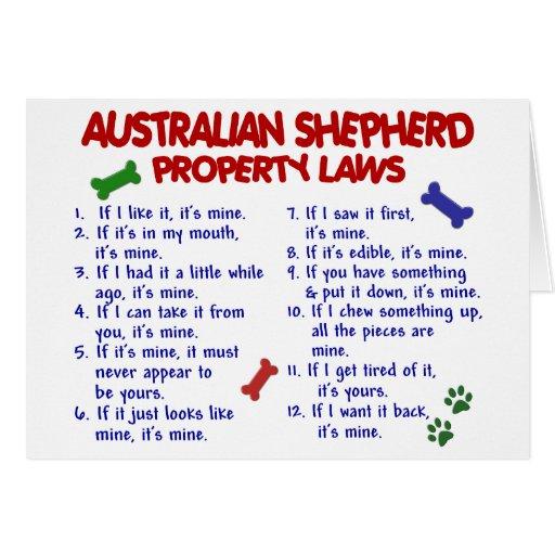 AUSTRALIAN SHEPHERD Property Laws 2 Greeting Cards