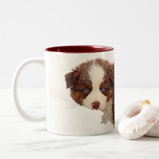 Australian Shepherd Puppies Two-Tone Coffee Mug