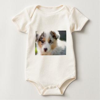 Australian shepherd puppy baby bodysuit