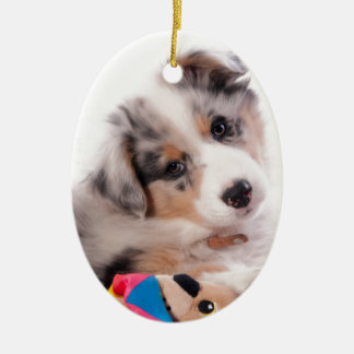 Australian shepherd puppy ceramic ornament