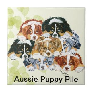 Australian Shepherd - Puppy Pile Tile