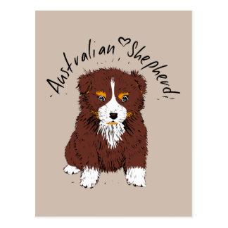 Australian Shepherd puppy, talk trichloroethylene Postcard