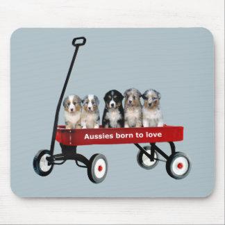 Australian Shepherd Pups In Wagon Mousepad