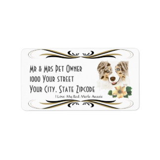 Australian Shepherd Red Merle Address Label