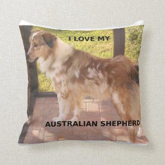 Australian_shepherd red merle love w pic throw pillow