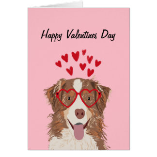 Australian Shepherd Red merle valentines dog card