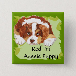 Australian Shepherd Red Tri Puppy ~ Green Leaves 2 Inch Square Button