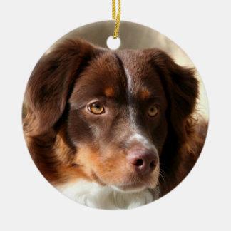 Australian Shepherd Round Ceramic Ornament