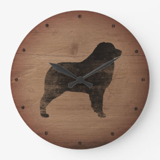 Australian Shepherd Silhouette Rustic Large Clock