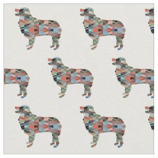 Australian Shepherd Silhouette Tiled Fabric